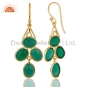 Floral Design Gold Plated Silver Green Onyx Gemstone Earrings