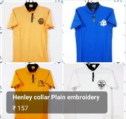 Henley Collar Plain Embroidery T Shirt