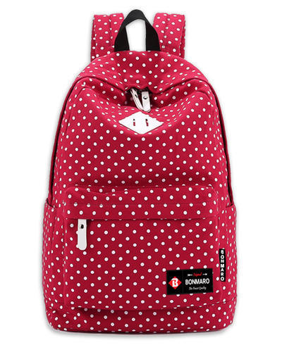 6ca74f613b Bonmaro Polka Dots Red Canvas Classic Backpack at Rs 1100  bag ...