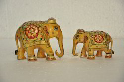 Gold Wooden Painted Elephant Statue