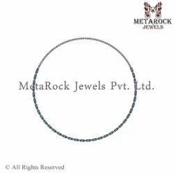 Designer Silver Blue Topaz Gemstone Nekclace Jewellery