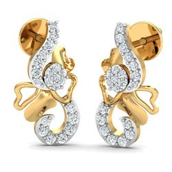 14k Trendy Gold Diamond Earring