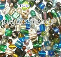 Mix Silver Foil Glass Beads Small Size