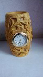 Brown Wooden Pen stand with Clock, For Office