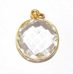 Clear Quartz Faceted Bezel Set Stone Pendant