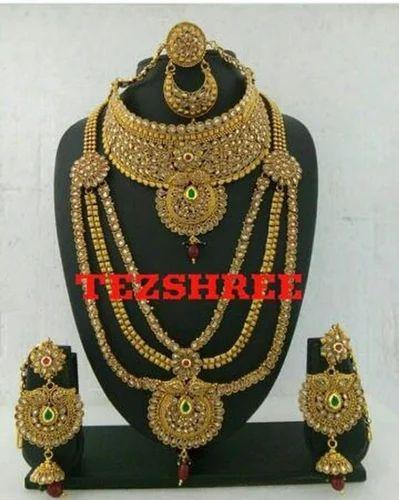 Wedding Wear Bridal Gold Necklace Set Rs 150000 Set: Indian Bridal Wedding Wear Full Dulhan Set, Rs 5500 /piece