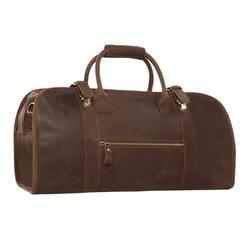 Brown Plain Leather Travel Bags, For Travailing