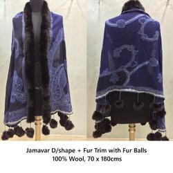 JAMAVAR SHAWLS WITH FUR BALLS