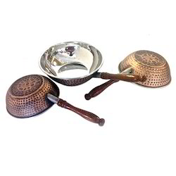 Smokey Finished Copper Steel Wok W Wooden Handle