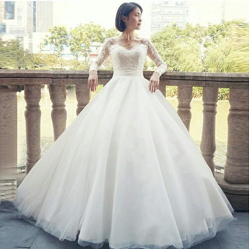 White And Ivory Chiffon Net Wedding Ball Gown V Neck