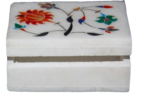 Marble handicrafts products White Stone Jewelry Box Inlay Gems Stone Work