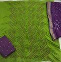 Collar Bandhani Suit Material