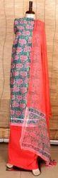 Jaipuri Cotton Suit With Chiffon Dupatta