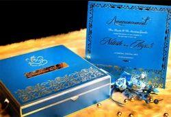 Turquoise Metal Wedding Card