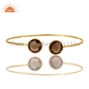 Smoky Quartz Gemstone Silver Gold Plated Designer Bangles