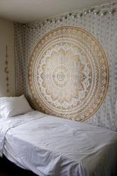 Indian Mandala Queen Size Gold Print Tapestry Hippie Mandala