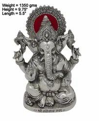 Bharat Handicrafts White Metal Silver Plated Ganesha Statue