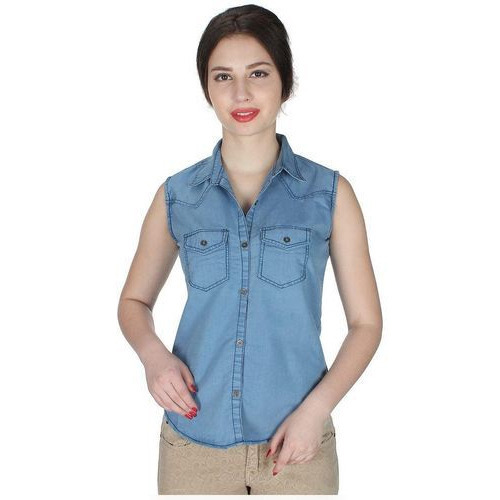 eee88c5cdb39d Ladies Designer Sleeveless Blue Denim Shirt