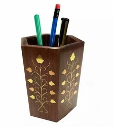 Brown Hexagonal Wooden Pen Stand, For Home