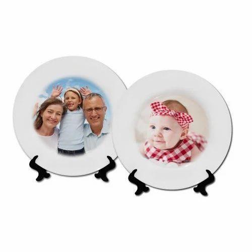 Sublimation Ceramic Plate Plain Golden Ring Ceramic