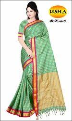 Silk Cotton Saree Tam Tam Checks, Packaging Type: Carton