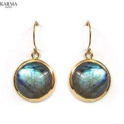 Designer Brass Earring with Gemstone
