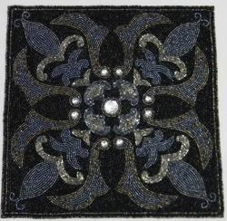 DEVINI Black & Grey Square Beaded Placemat, Size: 14 Inches