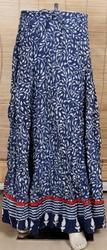Cotton Indigo Color Printed Skirt, Size: XL