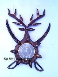 Deer Head Sword Wall Clock