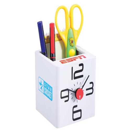 Cube Clock With Tumbler White