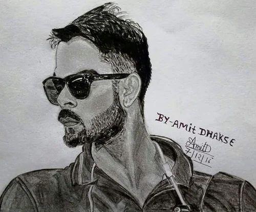 Virat Kohli Handmade Pencil Sketch Urvash Rautela Handmade