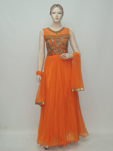 4e2ea4e568 Exclusive Designer Orange Color Long Anarkali Suit, Anarkali ...