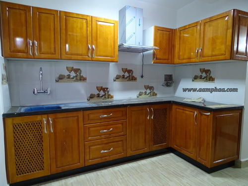 Rubberwood Modern Kitchen Cabinets at Rs 1850 /sft | Modular Kitchen ...