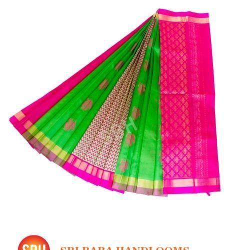 Silk Cotton Partly Pallu Butta Saree