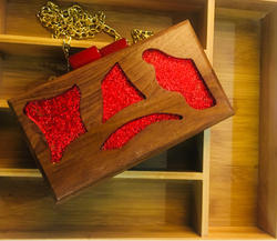 Evening Designer Wooden Box Clutch