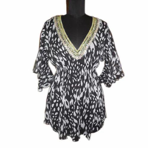 Cotton Printed Ladies Embellished Tunic Top