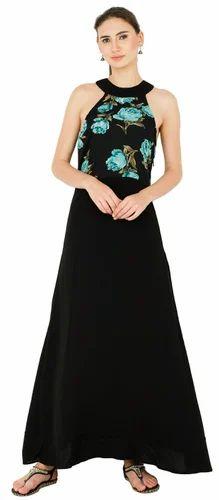 Redmoon Black and Green Women Maxi Dress, Packaging Type: Bag