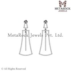Pave Diamond Designer Silver Bar Earring