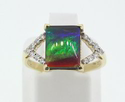 Ammolite And Diamond Gold Ring
