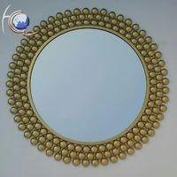 Brass Round Shape Decorative Mirror, Thickness: 3-4 Mm