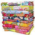 Tropical Kantha Bed Cover Handmade Tropicana Kantha Quilt