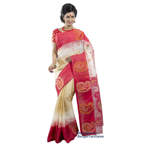 59a7932211 Tussar Silk Beige Color Printed Handloom Saree, Rs 1700 /piece | ID ...