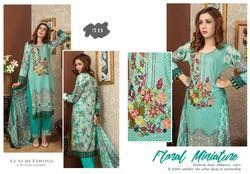 Cotton Floral Lawn Embroidered Suit, Machine wash