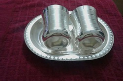 Silver Coated Glass With Tray Set