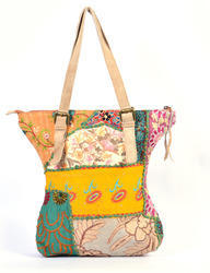 Handmade Patch Work Leather Handle College Bag