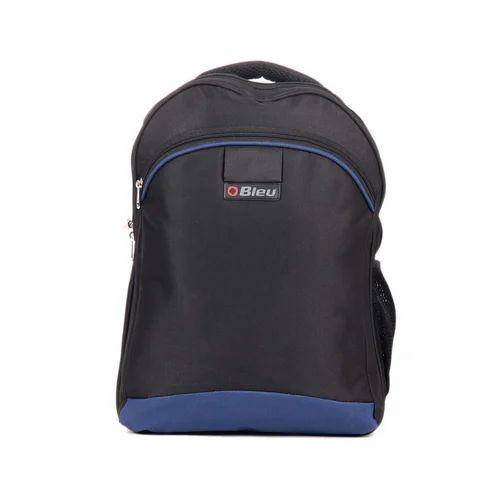Black & Blue Trendy Laptop Backpack Bag