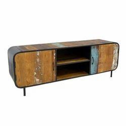 Industrial Reclaimed Wood Iron 2 Door TV Cabinet