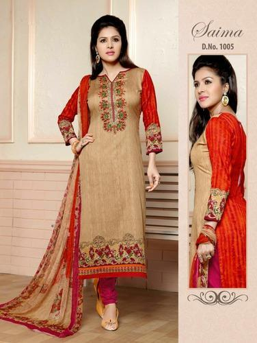 83bc854eb2 Embroidery Suits - Samia Glace Cotton With Embroidery Suit ...