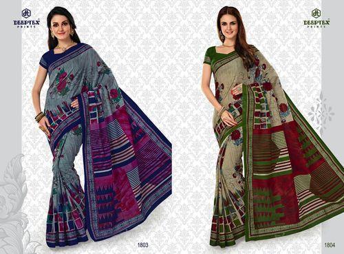 4d414e75f Cotton Block Printed Saree