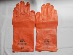 12 ICI Orange Rubber Hand Gloves